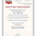 Certyfikat Rzetelnosci P.I.W. Camco Sp. z o. o. [PL]
